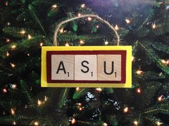 ASU Arizona State Sundevils Scrabble Tiles Ornament Handmade Holiday Christmas Wood