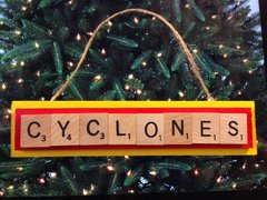 Iowa State Cyclones Scrabble Tiles Ornament Handmade Holiday Christmas Wood
