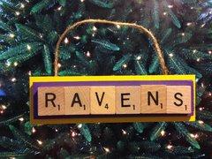 Baltimore Ravens Scrabble Tiles Ornament Handmade Holiday Christmas Wood