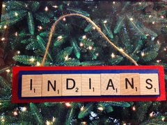 Cleveland Indians Scrabble Tiles Ornament Handmade Holiday Christmas Wood