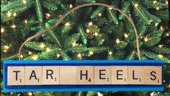 North Carolina Tar Heels Scrabble Tiles Ornament Handmade Holiday Christmas Wood