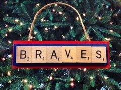 Atlanta Braves Scrabble Tiles Ornament Handmade Holiday Christmas Wood
