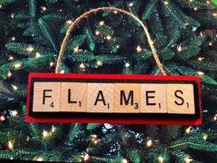 Calgary Flames Scrabble Tiles Ornament Handmade Holiday Christmas Wood