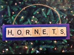 Charlotte Hornets Scrabble Tiles Ornament Handmade Holiday Christmas Wood