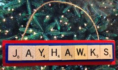Kansas Jayhawks Scrabble Tiles Ornament Handmade Holiday Christmas Wood