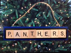 Carolina Panthers Scrabble Tiles Ornament Handmade Holiday Christmas Wood