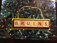 Boston Bruins Scrabble Tiles Ornament Handmade Holiday Christmas Wood