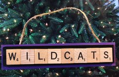 Kansas State Wildcats Scrabble Tiles Ornament Handmade Holiday Christmas Wood