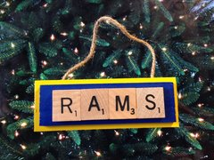 St Louis Rams Scrabble Tiles Ornament Handmade Holiday Christmas Wood Football
