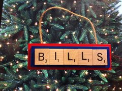 Buffalo Bills Scrabble Tiles Ornament Handmade Holiday Christmas Wood
