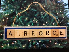United States Air Force Scrabble Tiles Ornament Handmade Holiday Christmas Wood