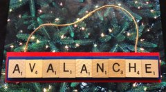 Colorado Avalanche Scrabble Tiles Ornament Handmade Holiday Christmas Wood