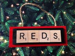 Cincinnati Reds Scrabble Tiles Ornament Handmade Holiday Christmas Wood