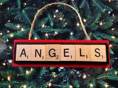 Anaheim Angels Scrabble Tiles Ornament Handmade Holiday Christmas Wood Baseball
