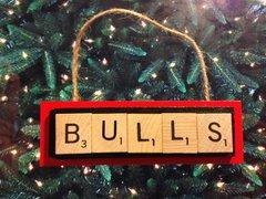 Chicago Bulls Scrabble Tiles Ornament Handmade Holiday Christmas Wood Michael Jordan