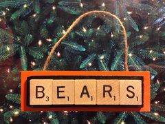 Da Bears of Chicago Scrabble Tiles Ornament Handmade Holiday Christmas Wood