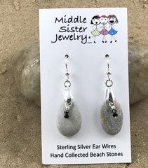 Light Gray Beach Stone Crystal Earrings - CEST8