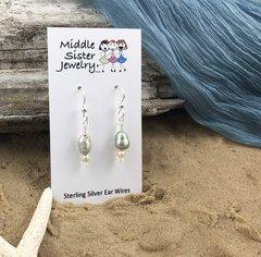 Pale Green Pearl Earrings - EPC3