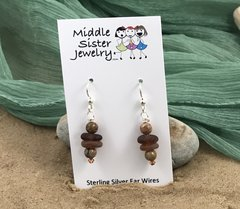 Amber Stacked Beach Glass Earrings (more options) - CEGS2
