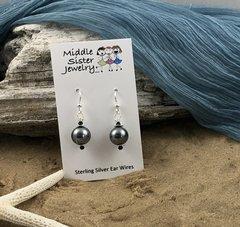 Dark Gray Pearl Earrings - EPC4