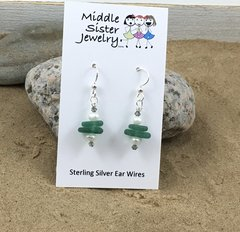 Green Stacked Beach Glass Earrings (more options) - CEGS1