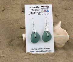 Jade Drop Beach Glass Earrings - CEGD7