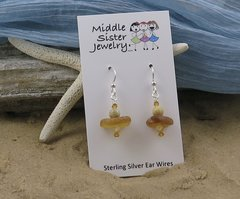 Amber Italian Beach Glass Earrings - CEGS4
