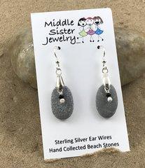Gray Stone Pearl Earrings - CEST7