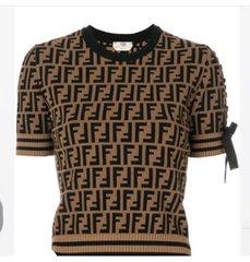 Fendi Logo Embellished Short Sleeve Sweater