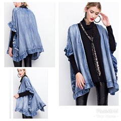 Denim Ruffle Cardigan (Available 12/12/17)