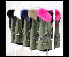 Military Style Vest with Fur Hood