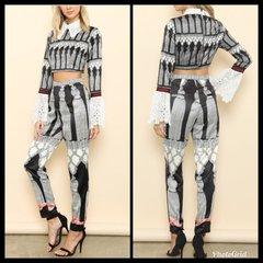 Lacey Print 2-Piece Crop Top & Pants