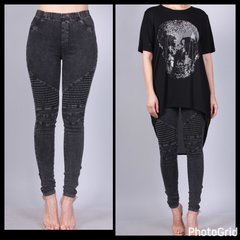 Antique Black Denim Moto Pants