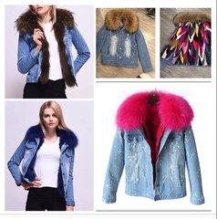 Denim Jacket with Fox Fur Collar