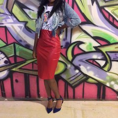Red Leather Midi Skirt (SOLD OUT)