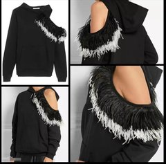 Hoodie with Feather Shoulder