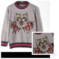 Metallic/Glitter 3-D Lioness Sweat Shirt