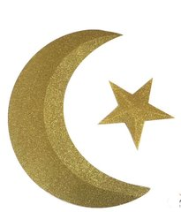 Glitter Gold Crescent Moon & Star in 3D