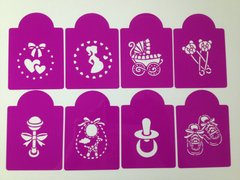 Baby Shower Cupcake Stencils, Set of 8
