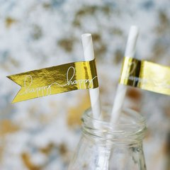 """Happy Happy"" Gold Foil Flag Stickers"