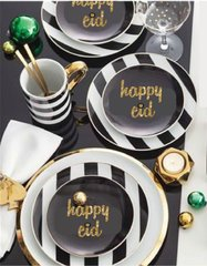 """happy eid"" Gold/Black Dessert Plates"