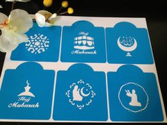 Islamic Hajj Mubarak Stencils, set of 6