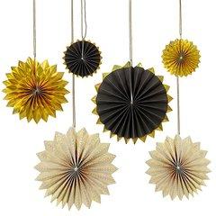 Black & Gold Pinwheel Decoration Hanging