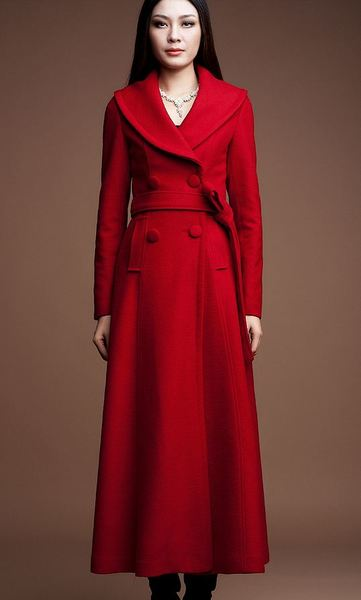Red Long Coats Red Winter Wool Cashmere Overcoats for Women ...