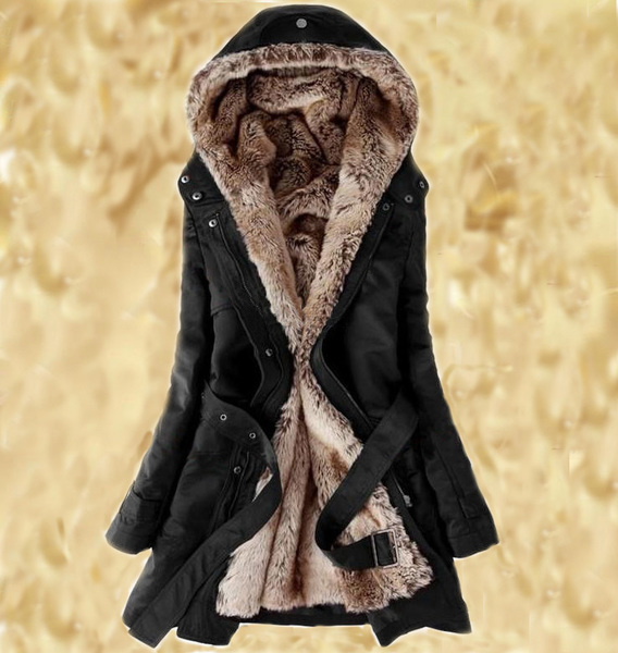 Fur Coat Black Parka Jackets Super Soft Lining Thick Winter Coats ...