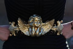 SOLD!481 Gold Baroque Huge Chunky Cherub Statement Belt Size XS-S