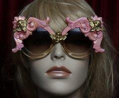 1816 Pink Hand Painted Baroque Cherubs Oversized Sunglasses