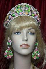 2351 Russian Cocoshnik Hand Painted Flower Pearl Crown Headband