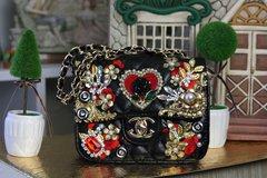 SOLD! 539 KIDS Madam Coco Heart Rhinestone Eye-Catch Black Purse Handbag