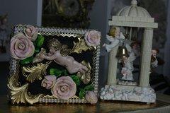 SOLD! 337 Total Baroque Cherub Unusual Unique Hand Painted Chunky Rose Handbag Trunk